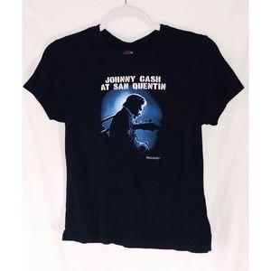 Johnny Cash At San Quentin black tee shirt sleeve
